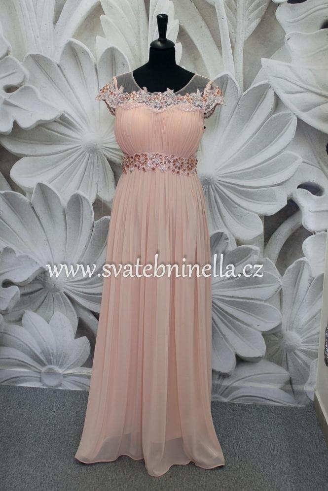 Dlouhé společenské plesové šaty pudrové - lososové dd6deb2562
