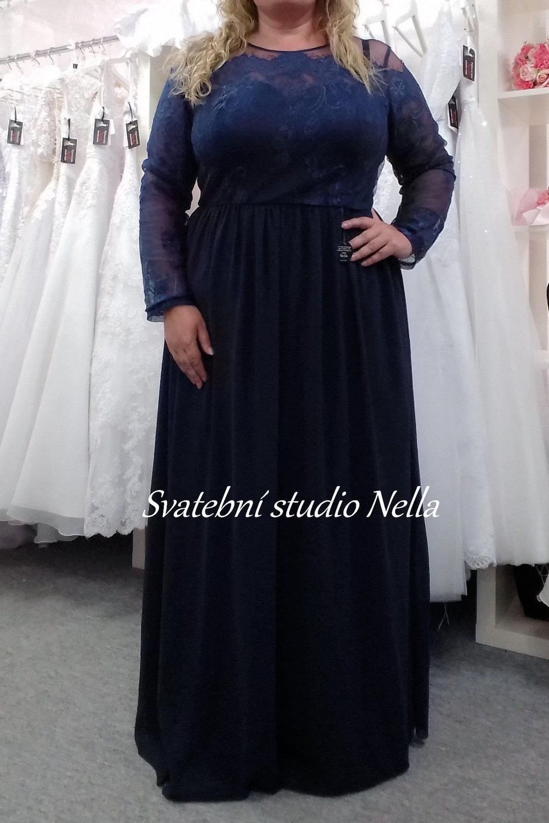 Plesové šaty modré pro plnoštíhlé - velikost 50 c9aeedf31bf