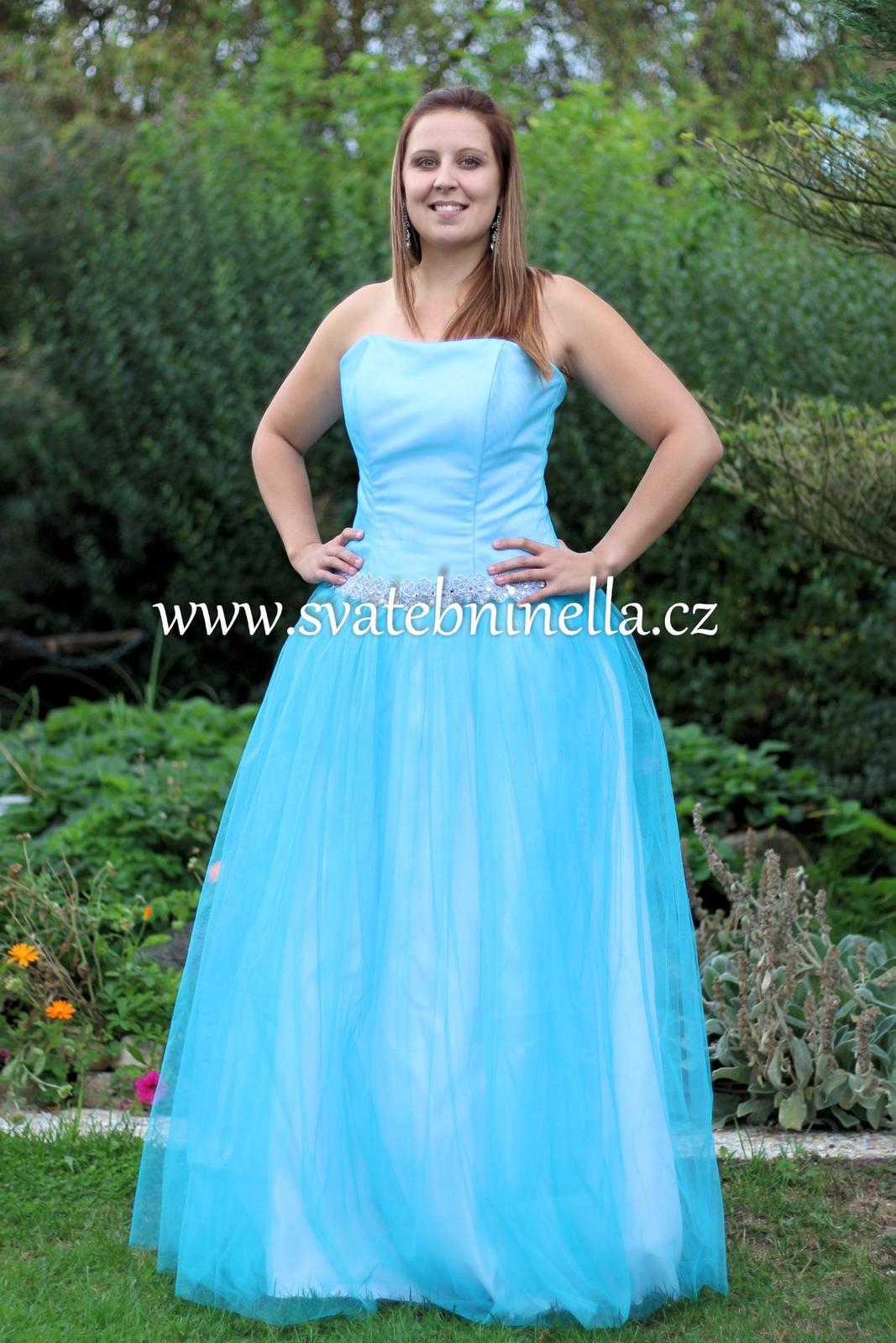 Tyrkysové dlouhé plesové šaty a6a6ea9793