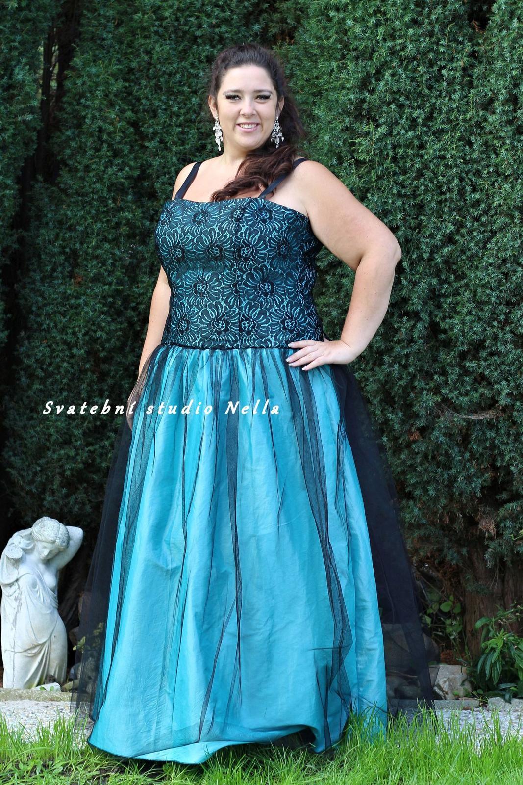 Tyrkysové dlouhé plesové šaty vel.48-50-52 b85db4f7d8