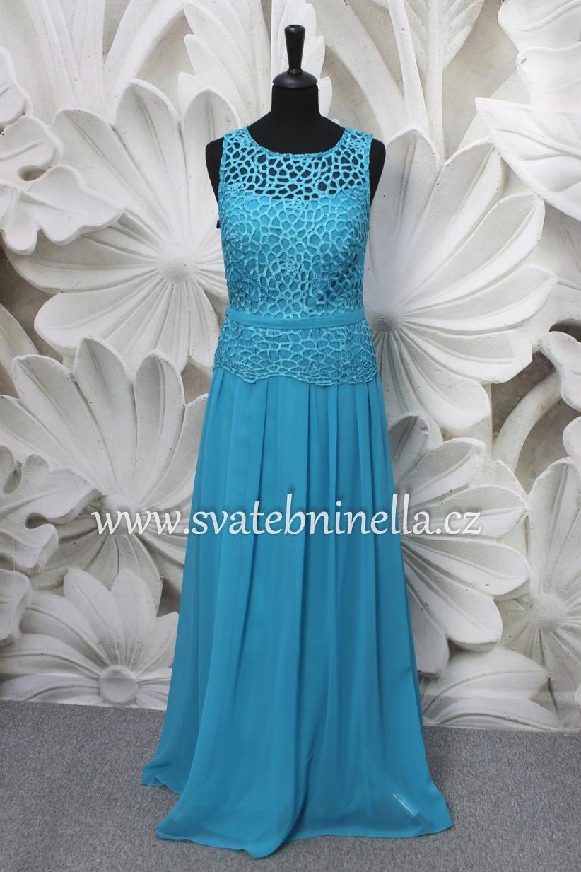 Tyrkysové dlouhé společenské šaty f74e38acc3