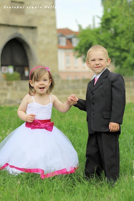 Dětské šaty na svatbu- půjčovné, 98
