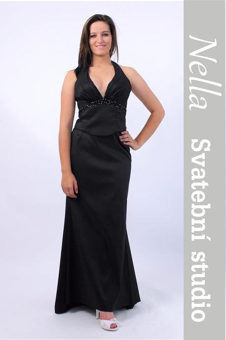 Dlouhé společenské plesové šaty černé, 38