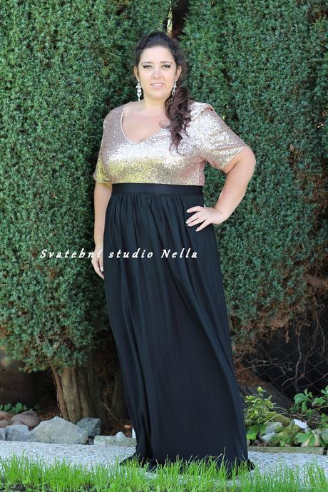 Dlouhé společenské plesové šaty černé vel.54, 54