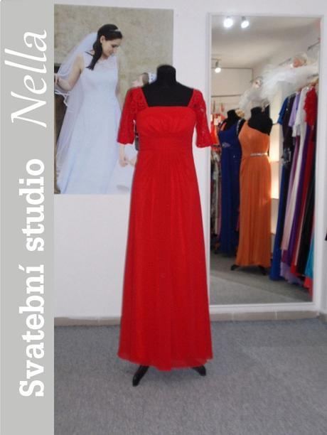 Dlouhé společenské plesové šaty červené, 36