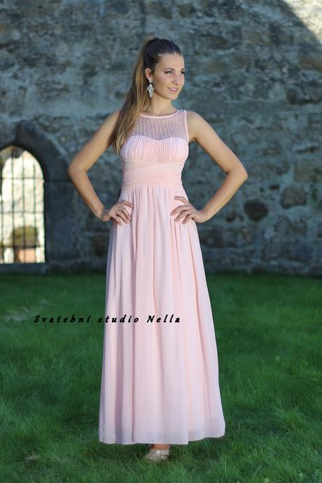 Dlouhé společenské plesové šaty pudrové, 36