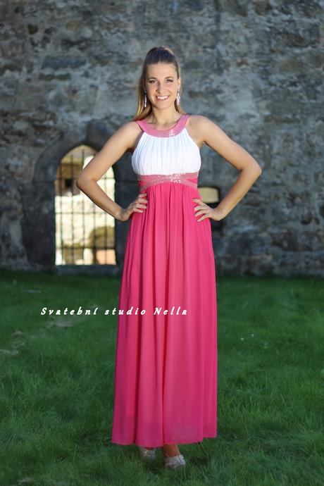 Dlouhé společenské plesové šaty růžové pink, 38