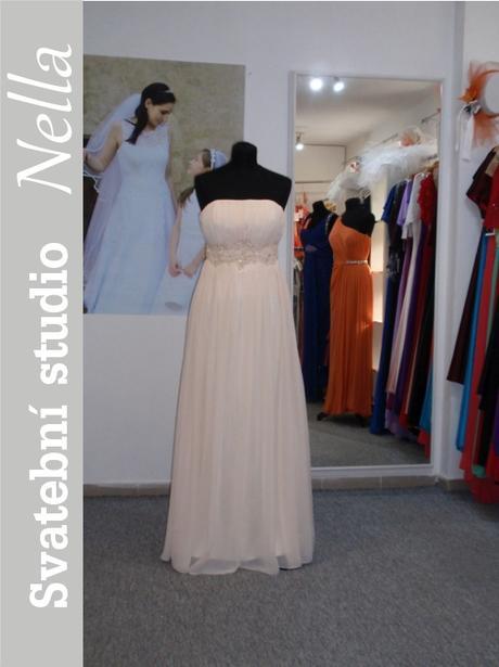 Dlouhé společenské plesové šaty smetanové, 34