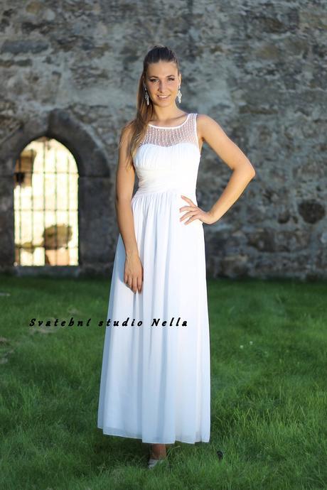 Dlouhé společenské plesové šaty smetanové, 36