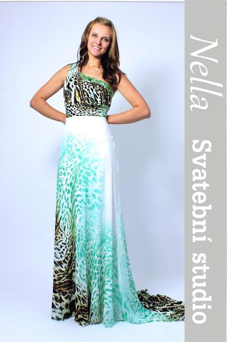 Dlouhé společenské plesové šaty zelené leopard, 38