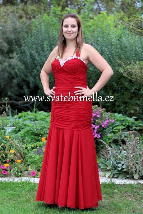 Dlouhé společenské šaty červené, 42