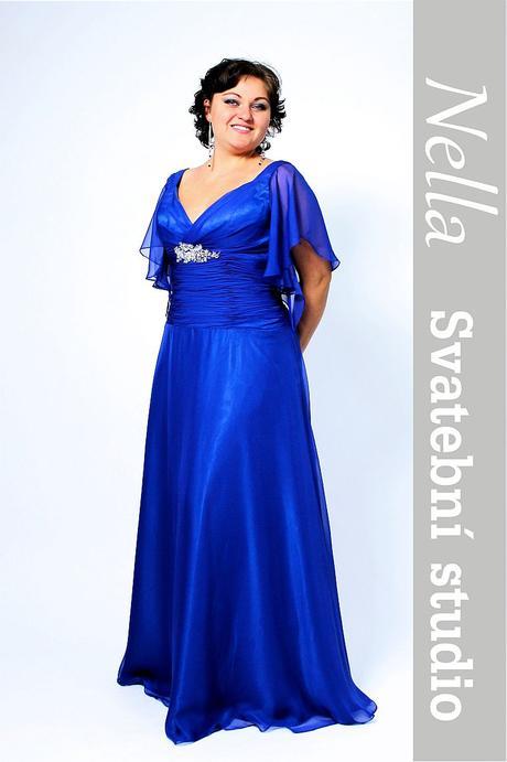 Dlouhé společenské šaty pro plnoštíhlé modré, 44