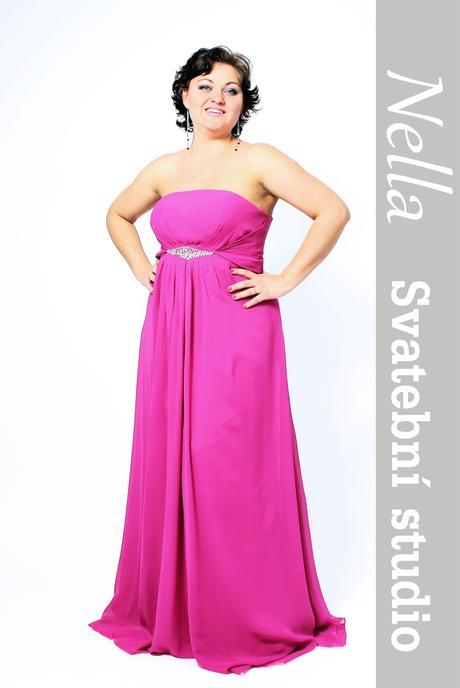 Dlouhé společenské šaty pro plnoštíhlé pink, 44