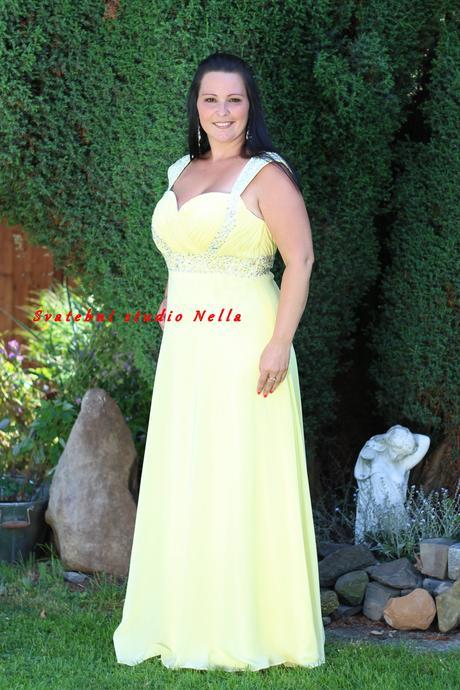 Dlouhé společenské šaty pro plnoštíhlé žluté, 44