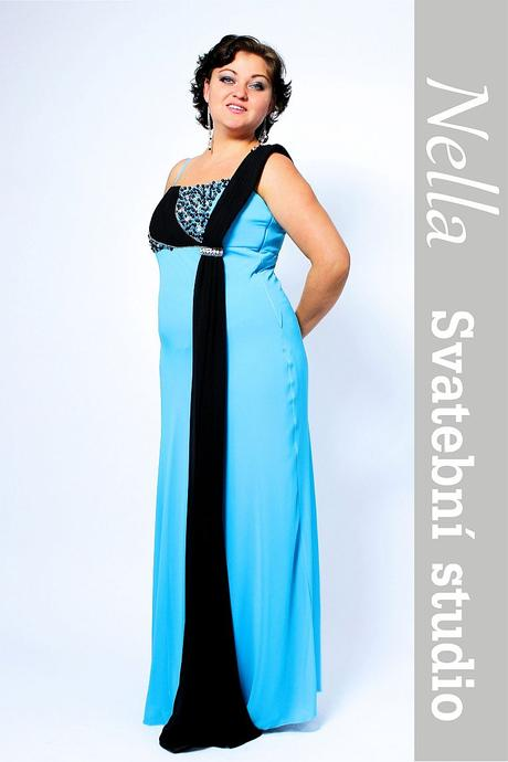 Dlouhé společenské šaty tyrkysové, 40