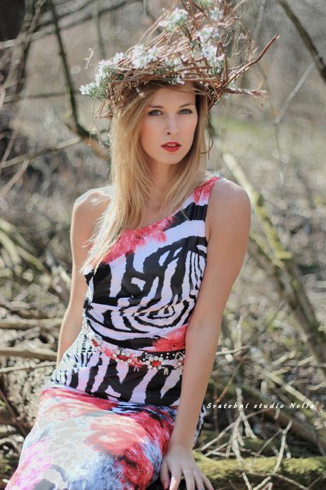 Extravagantní dlouhé společenské šaty zebra, 36