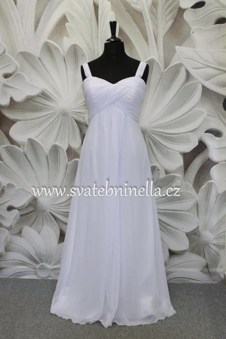 Jednoduché antické svatební šaty na ramínka, 44