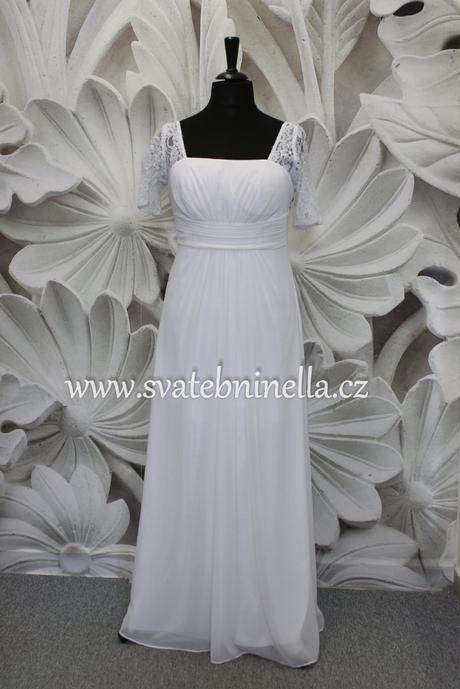 Jednoduché antické svatební šaty s rukávy, 44