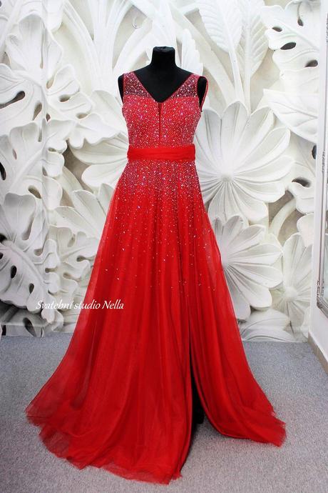 Plesové šaty červené - velikost 36, 36