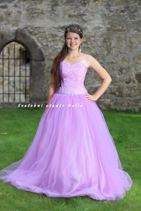 Plesové šaty fialové světlé - půjčovné, 32