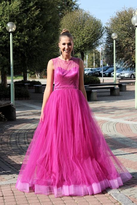 Plesové šaty fuksie - velikost 38, 38