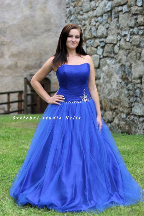 Plesové šaty modré - půjčovna, 42
