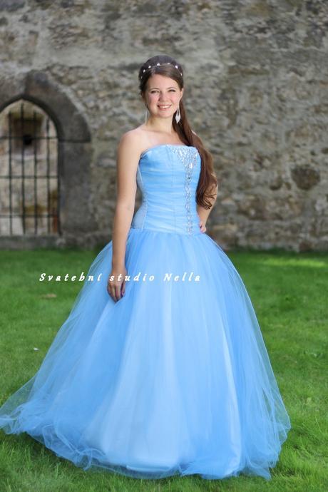 Plesové šaty modré světlé - půjčovné, 34