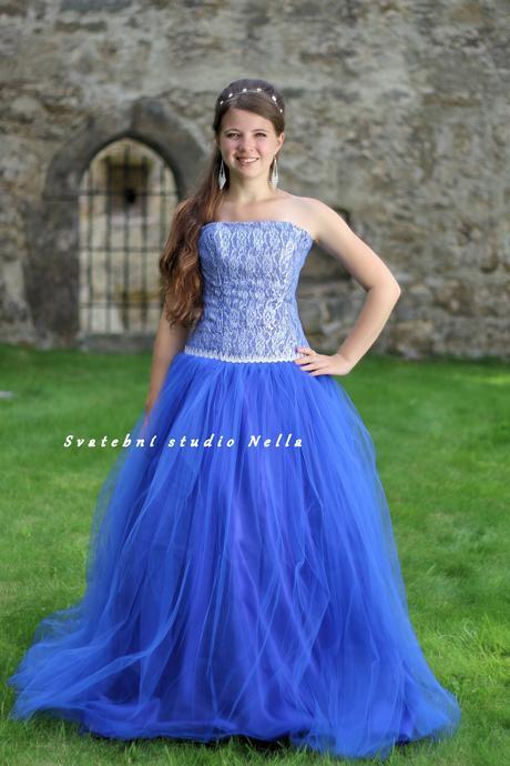 Plesové šaty modré tmavé - půjčovné, 34