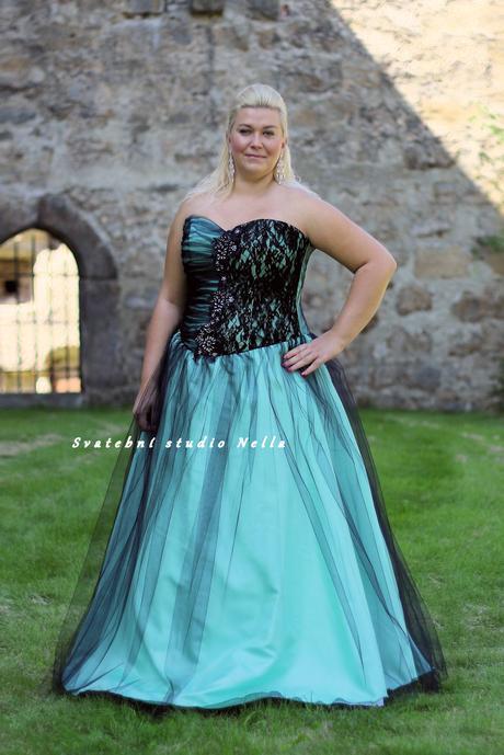 Plesové šaty pro plnoštíhlé mint - půjčovna, 50