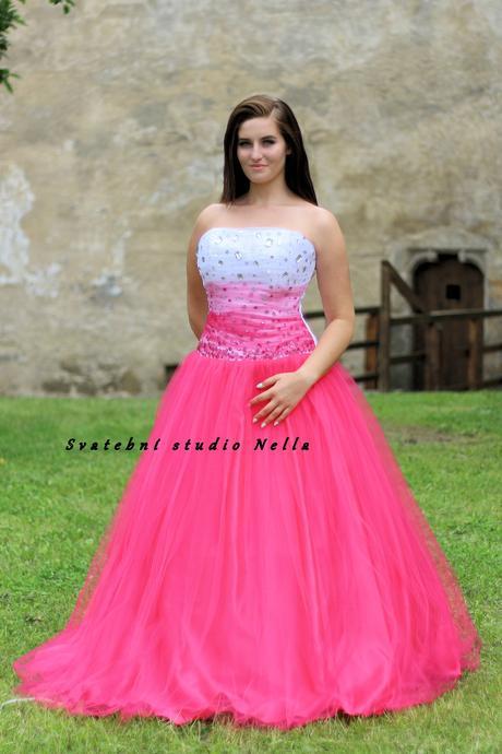 Plesové šaty růžové - půjčovna, 42