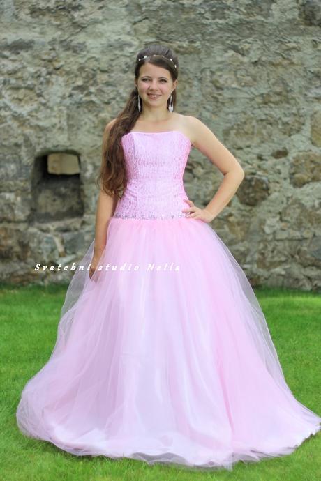 Plesové šaty růžové světlé - půjčovné, 34