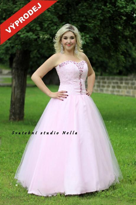 Plesové šaty růžové - výprodej, 46