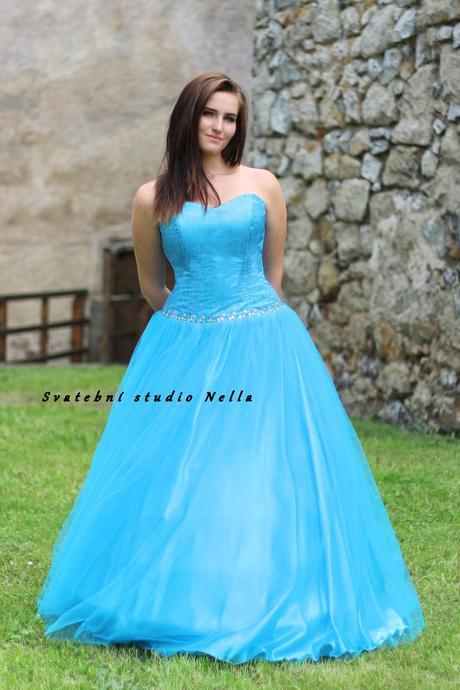 Plesové šaty tyrkysové - půjčovna, 42