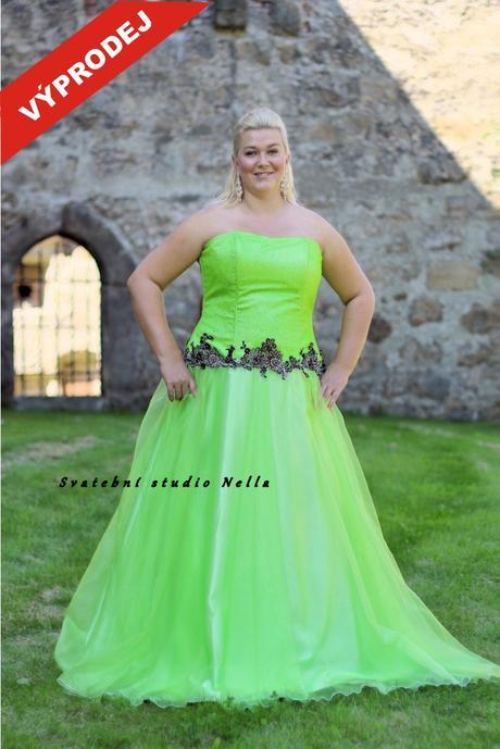 Plesové šaty zelené pro plnoštíhlé - výprodej, 48