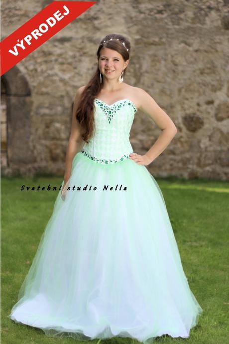 Plesové šaty zelené světlé - výprodej, 34
