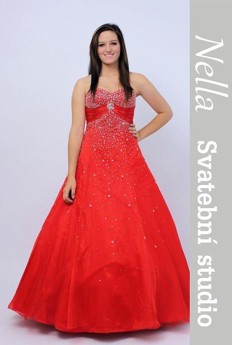 Plesové společenské šaty červené, 38