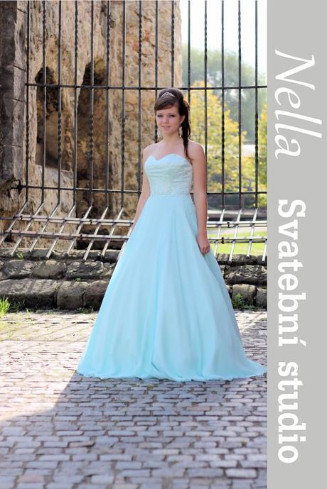 Plesové společenské šaty mentolové mint, 38