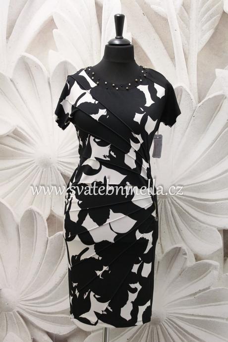 Půjčovna - krátké společenské šaty černo-bílé, 50