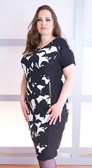 Půjčovna - krátké společenské šaty černo-bílé, 52