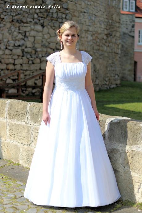 Svatební šaty bílé na ramínka N51, 42