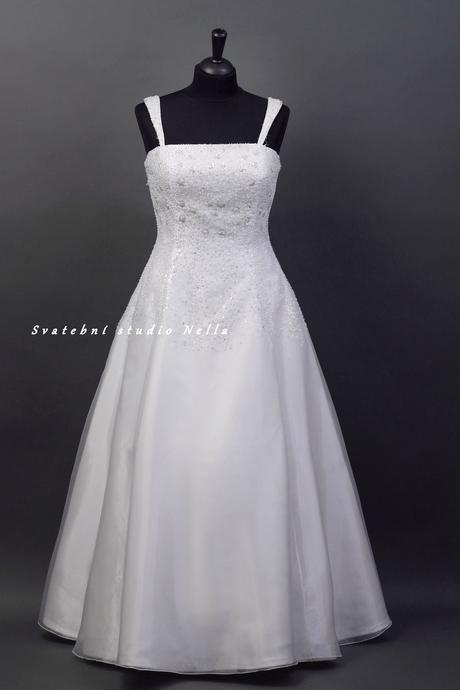 Svatební šaty bílé s flitry N31, 48