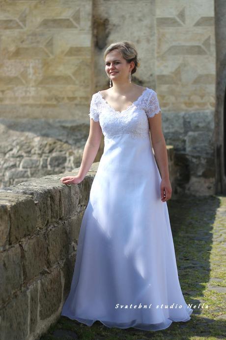 Svatební šaty bílé s rukávkem K3, 38