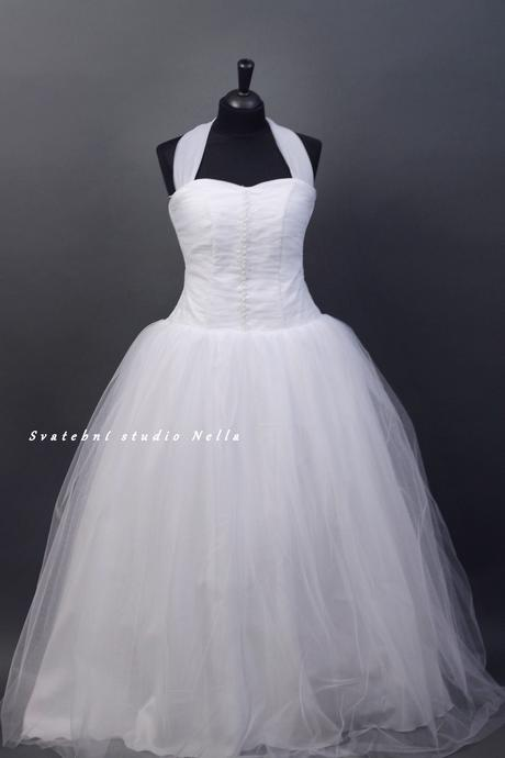 Svatební šaty bílé tylové, 44