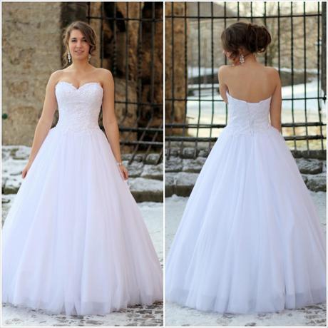 Svatební šaty bílé tylové K1, 36