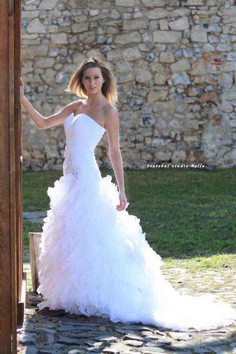 Svatební šaty N36 s vlečkou, 36