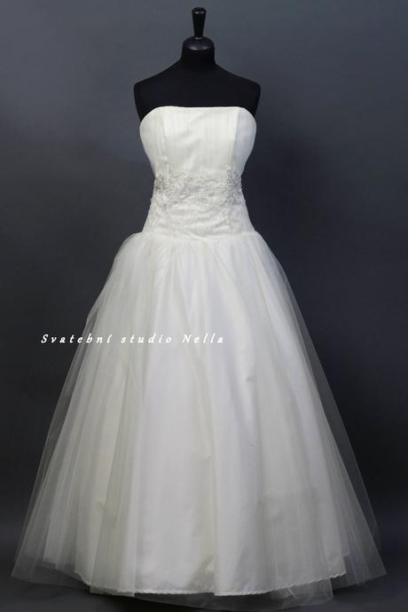Svatební šaty smetanové tylové, 42