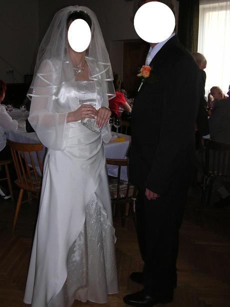 Svadobné šaty, bolero, závoj, korunka, 37