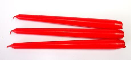 Kónická sviečka červená 25cm,