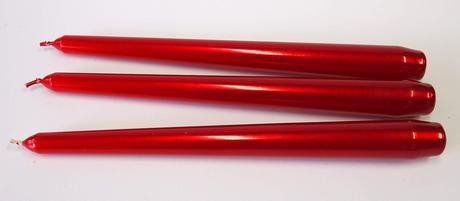 Kónická sviečka červená metalická 25cm,