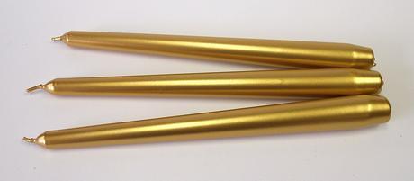 Kónická sviečka zlatá metalická 25cm,